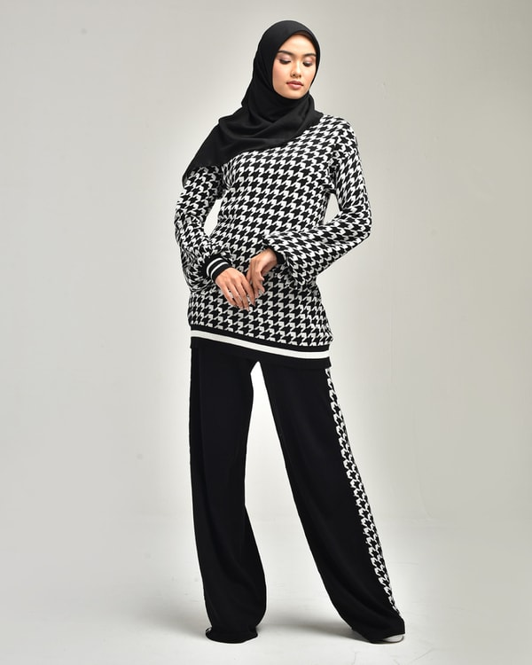 Houndstooth Sweatshirt Set Blouse